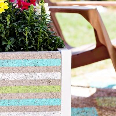 DIY Beachy Striped Paver Planter Tutorial