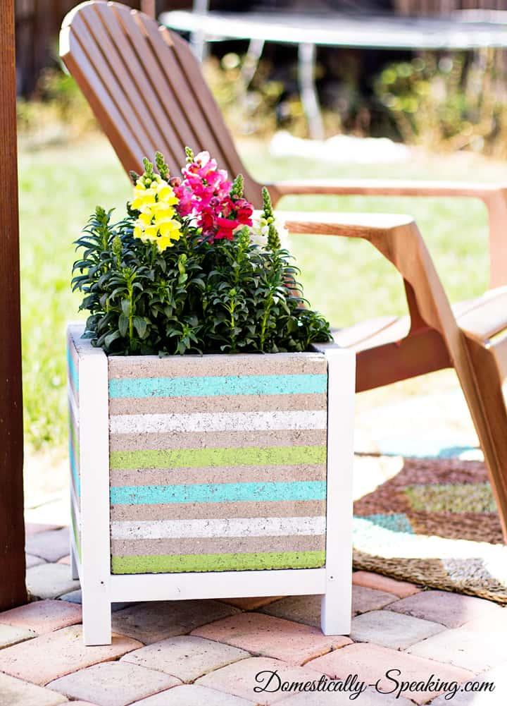 DIY Paver Planter with a Beachy Stripe 15