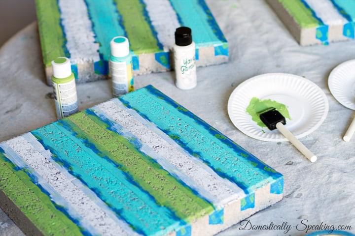 DIY Paver Planter with a Beachy Stripe 8