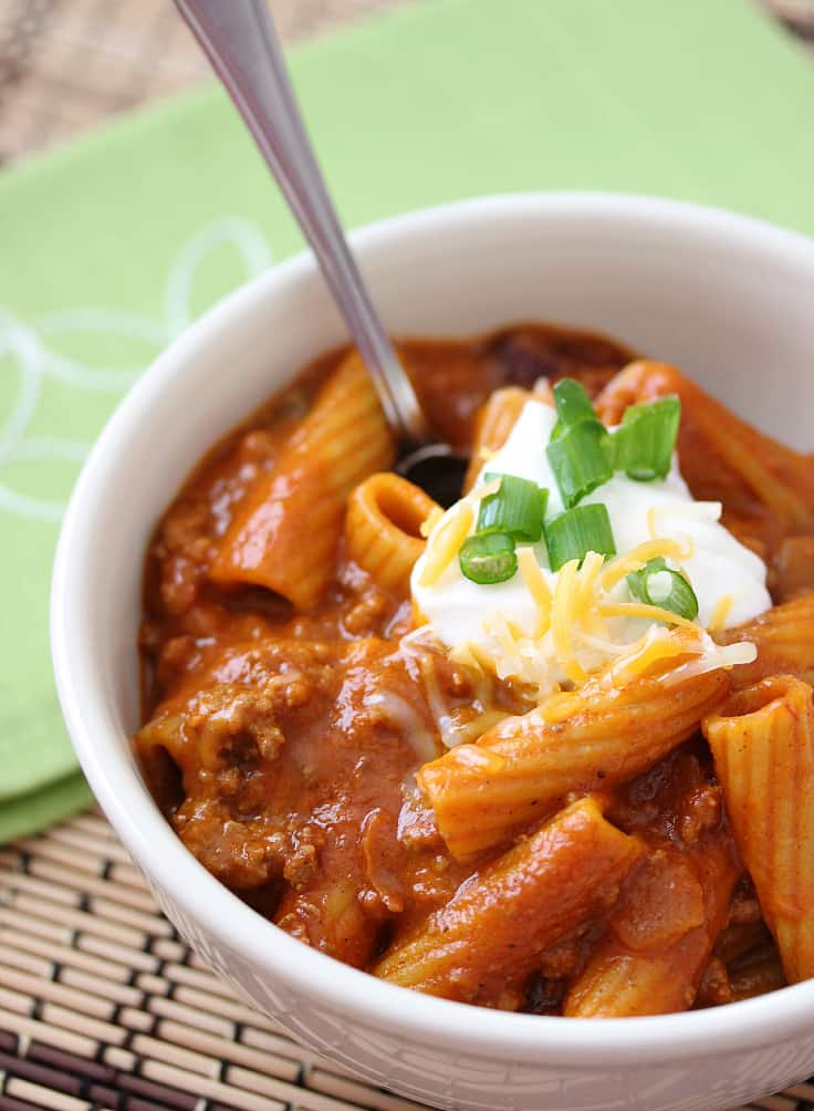 One Pot Chili Rigatoni from Simply Stacie