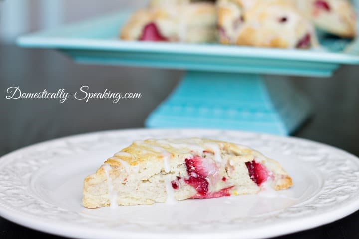 Strawberry-Scone-with-Lemon-Icing from Domestically Speaking