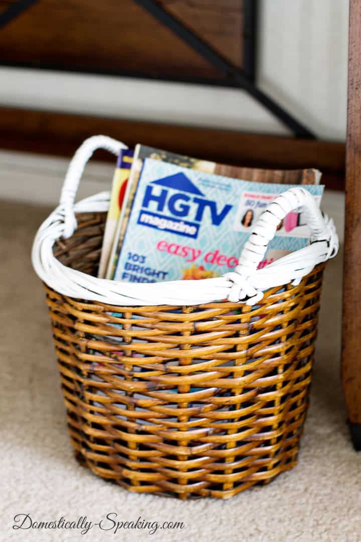 Striped Basket with Paint a fun thrift store makeover 1