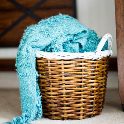 Easy Striped Basket with Paint a Thrift Store Makeover