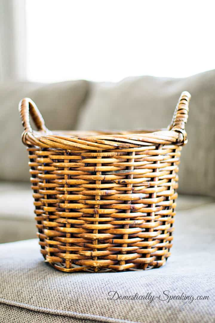 Striped Basket with Paint a fun thrift store makeover 4