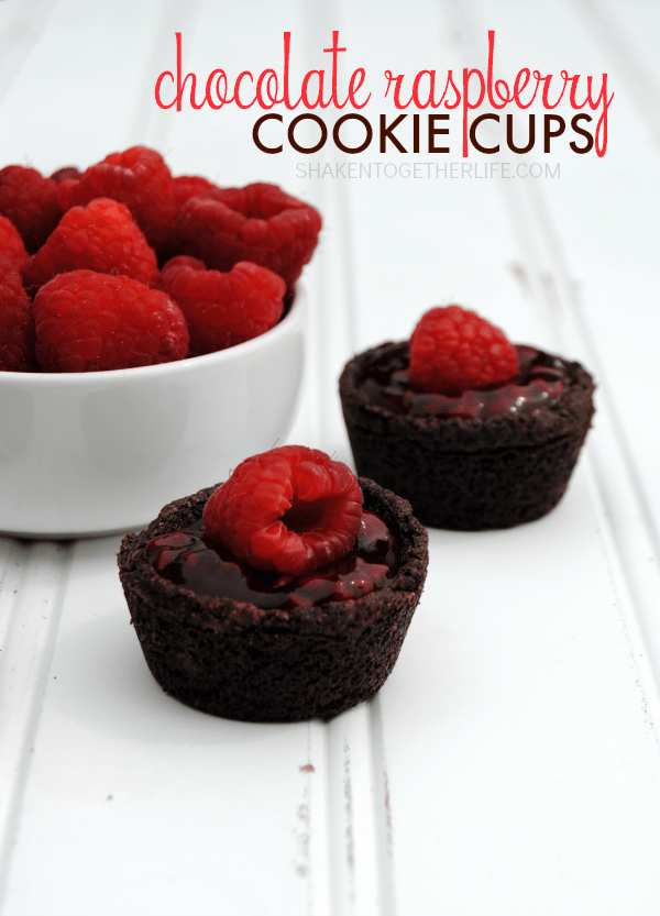 chocolate-raspberry-cookie-cups from Shaken Together Life