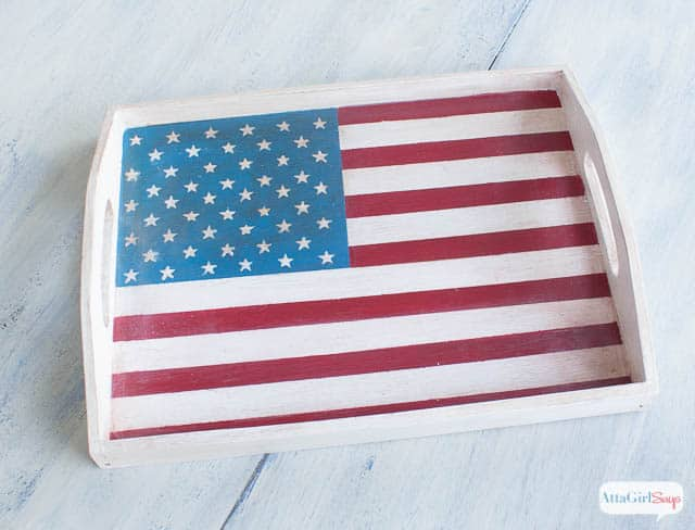 American Flag Painted Tray from Atta Girl Says