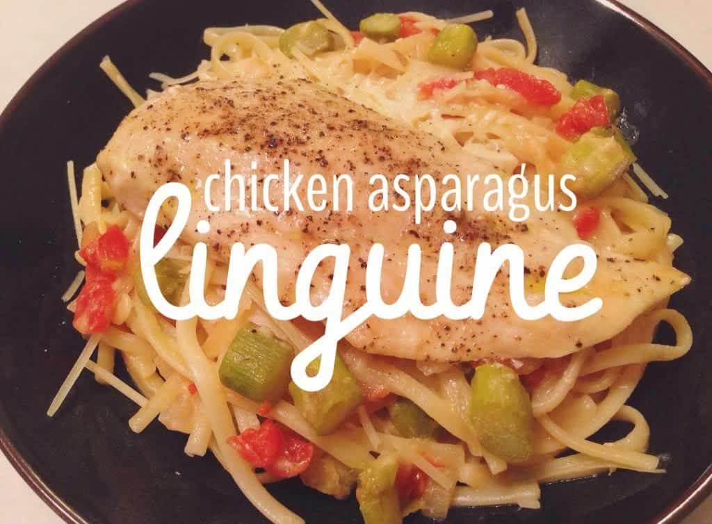 Chicken Asparagus Linguine from All She Cooks