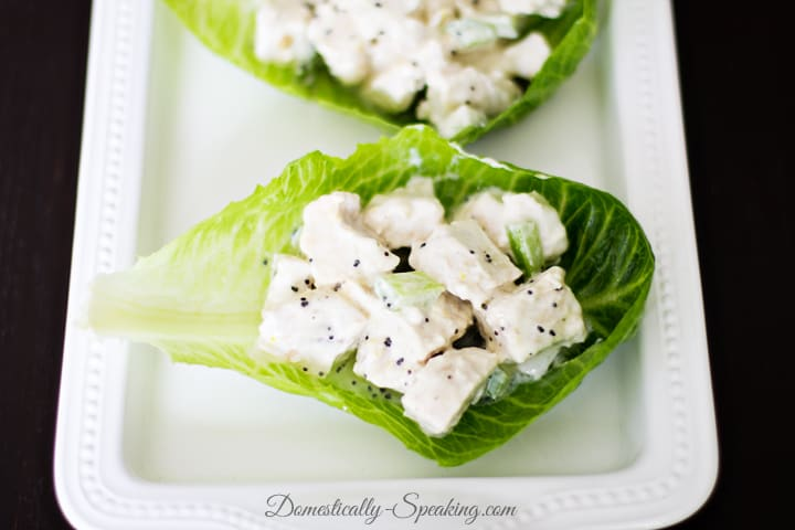 Chicken Salad Lettuce Wraps with Lemon Poppyseed Dressing made with Yoghurt 4