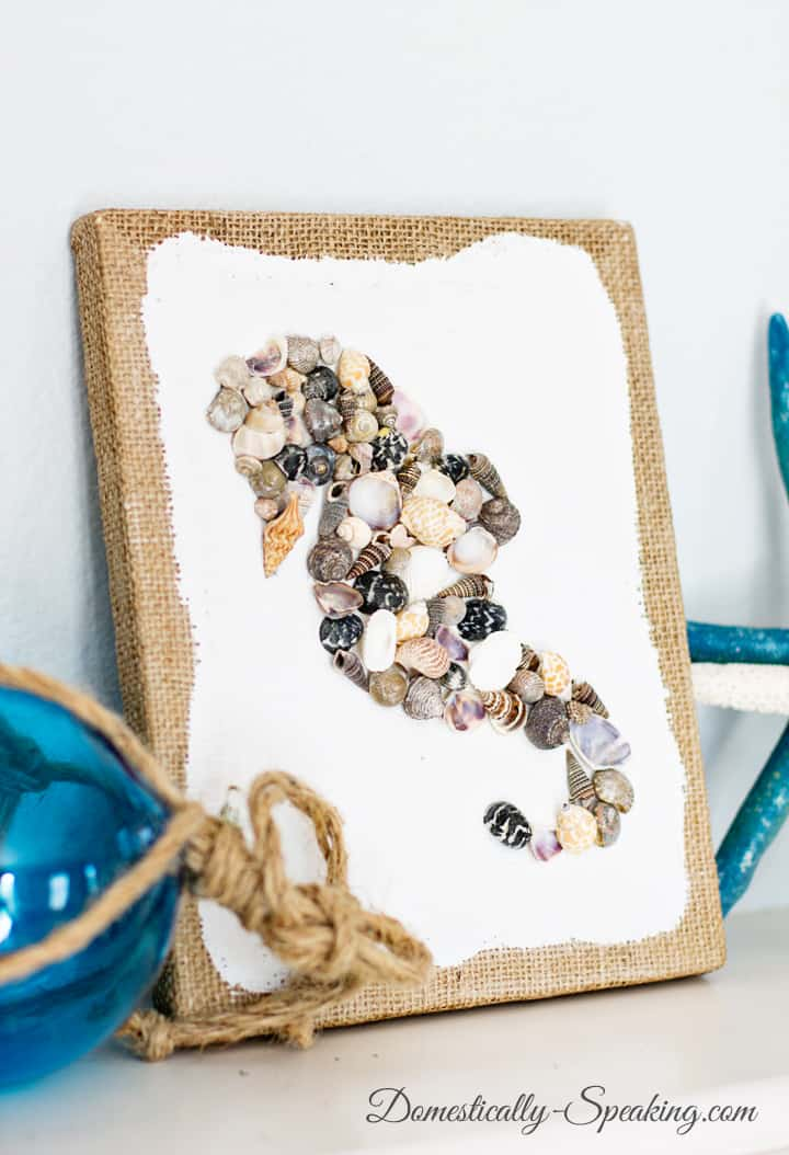 Diy seashell seahorse craft domestically speaking for Shell diy