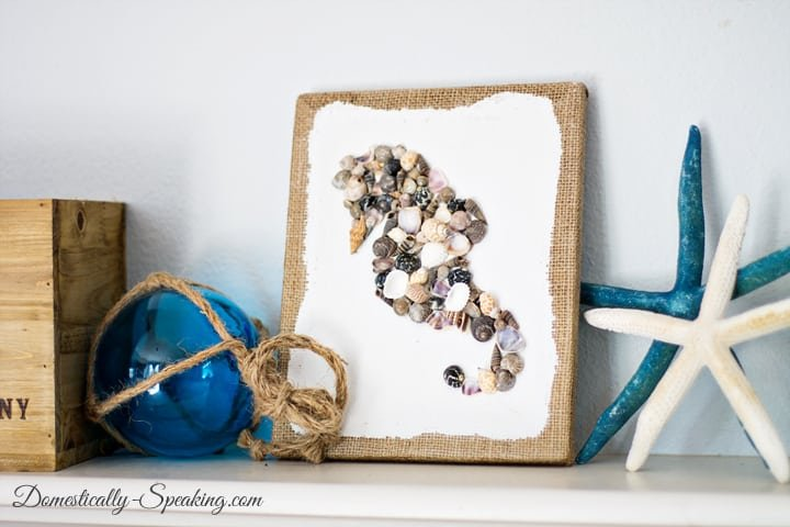 Diy seashell seahorse craft domestically speaking - Diy projects with seashells personalize your home ...