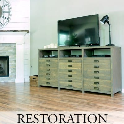Restoration Hardware Printmaker's Inspired TV Console DIY