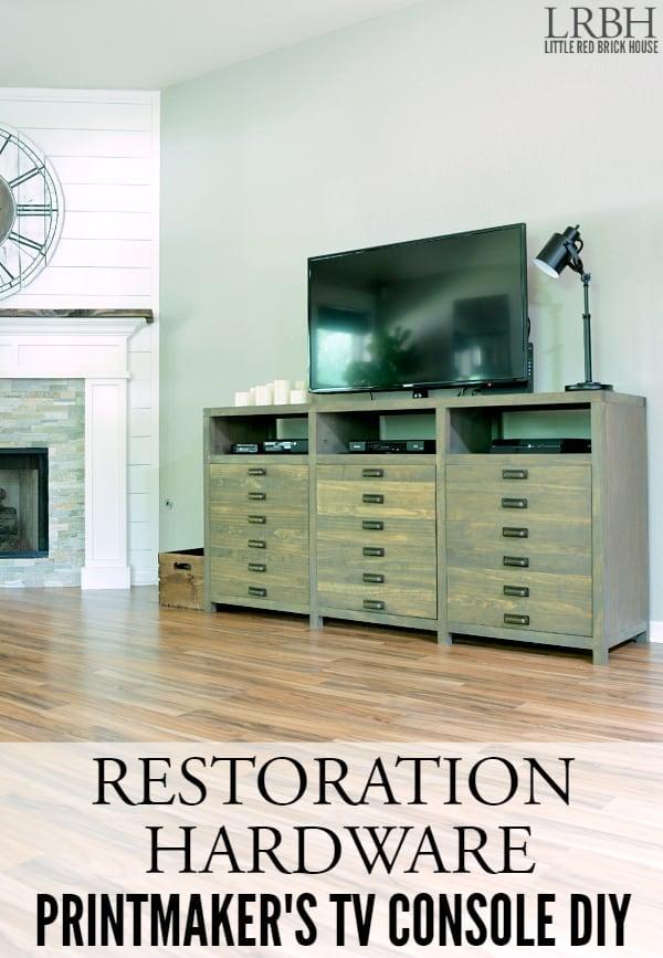 Restoration Hardware Printmaker's Inspired TV Console DIY