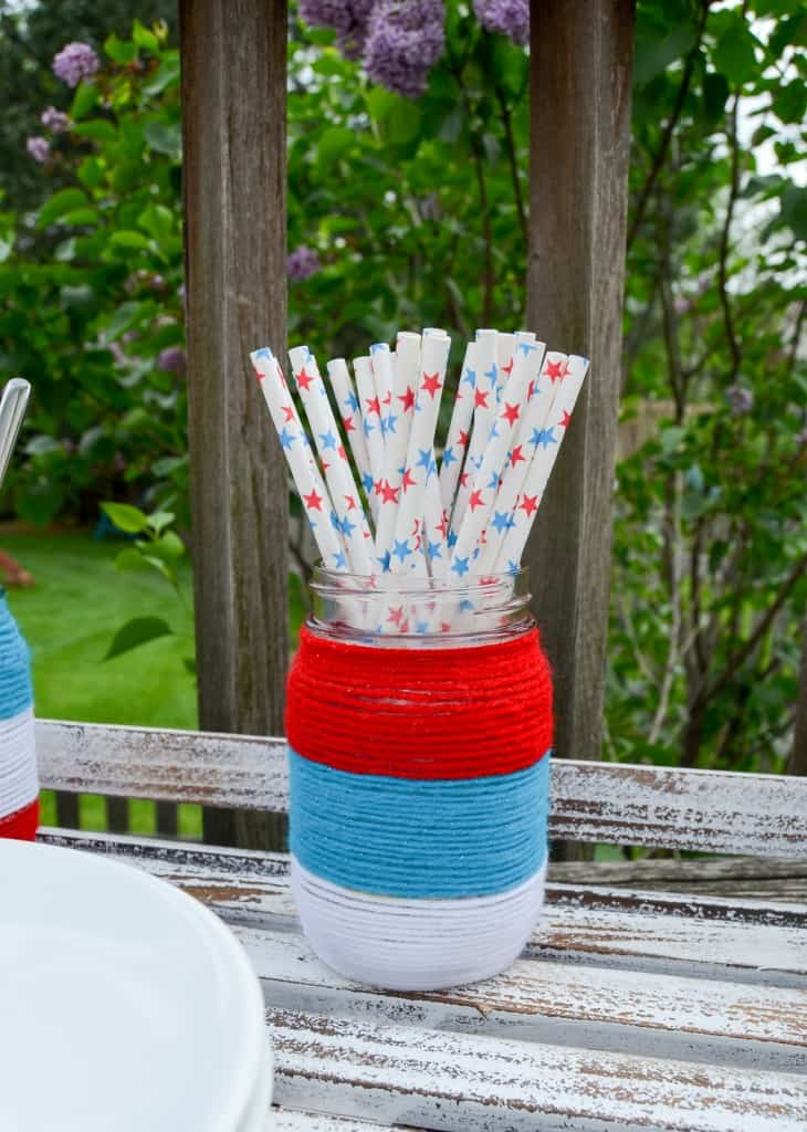 Patriotic Yarn Wrapped Mason Jars from Albion Gould