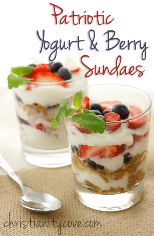 Patriotic Yogurt and Berry Sundaes from Christianity Cove