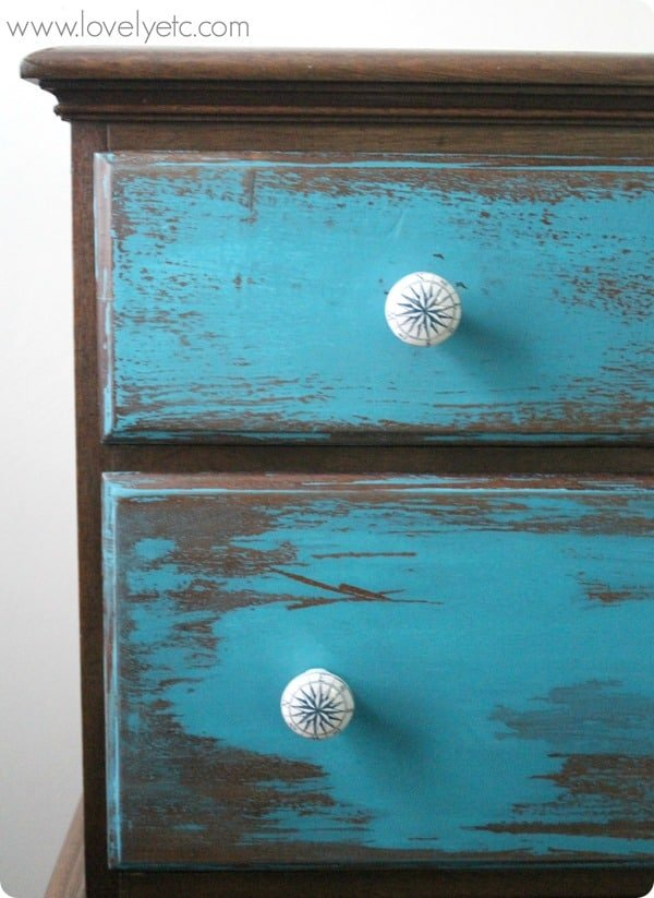 Paint Tip Easiest Way to Heavily Distress Furniture from Lovely Etc