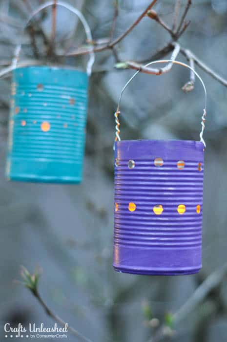 Painted Tin Can Luminaries from Crafts Unleashed