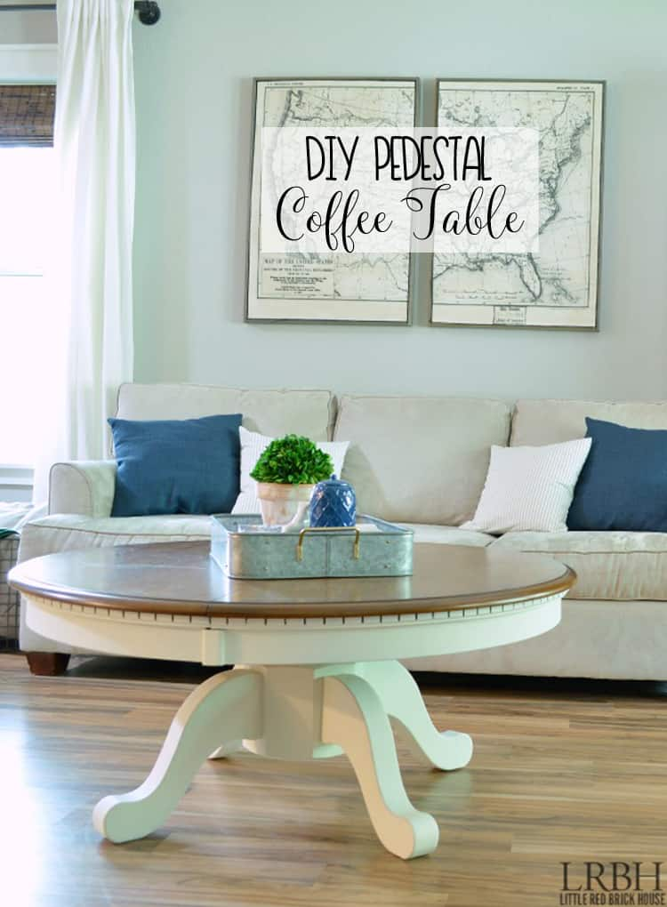 Dining table turned DIY Pedestal Coffee Table with a few DIY tricks.  Take a thrift store or Craigslist table and turn it into the piece you need.