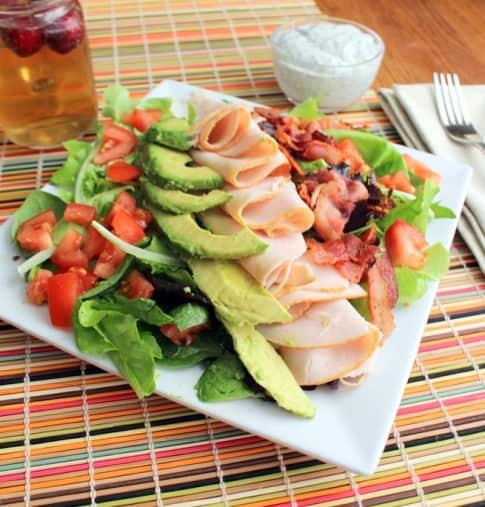 Turkey Bacon Avocado Salad with Garlic Dill Dressing