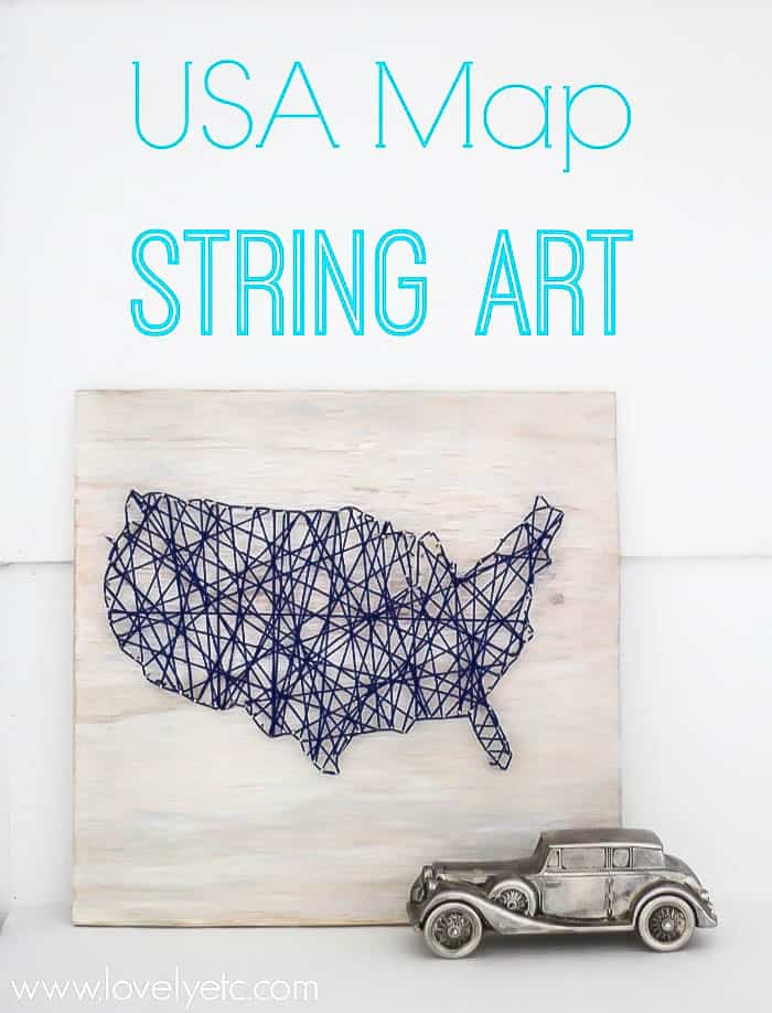 USA Map String Art - an easy patriotic DIY Project that makes the perfect decor for your summer!  Get all the details here!