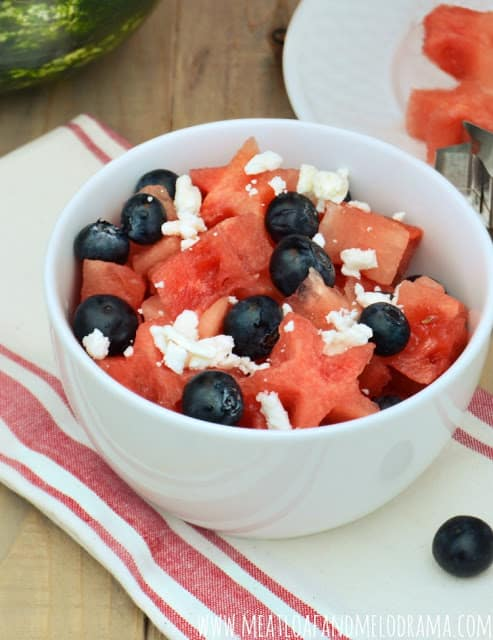 watermelon feta and blueberry salad from Meatloaf and Melodrama