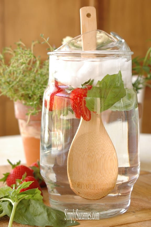 strawberry and basil infused water from Simply Suzannes