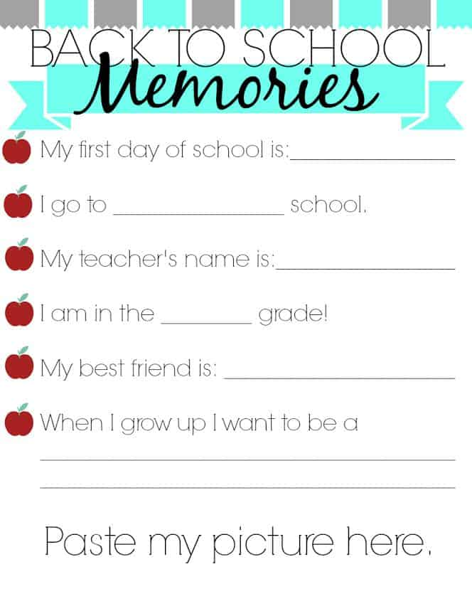 Back to School Memories Printable from Woman of Many Roles