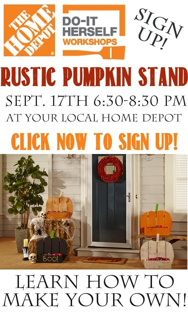 Home Depot DIH Workshop Rustic Pumpkin Stand