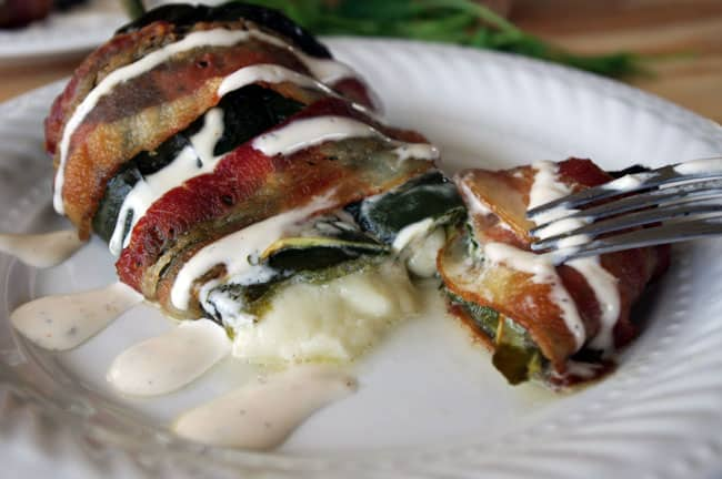 Bacon Wrapped Poblanos with Cilantro Ranch Dressing from Dixie Chik Cooks