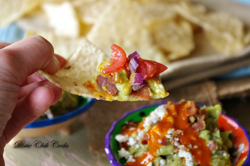 Bacon and Blue Cheese Buffalo Guacamole from Dixie Chik Cooks