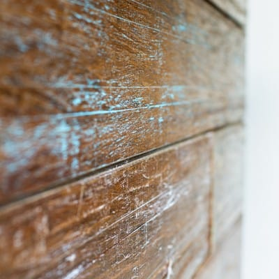 Barstool Area Plank Wall with Leftover Flooring