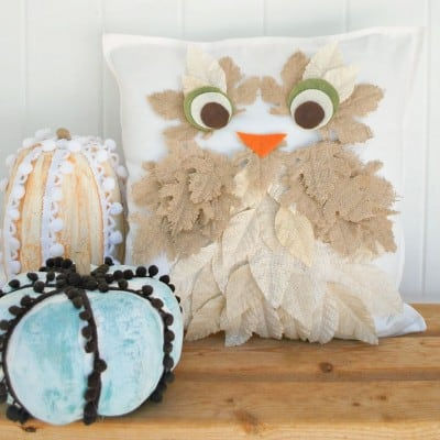 Burlap Leaf Owl Pillow