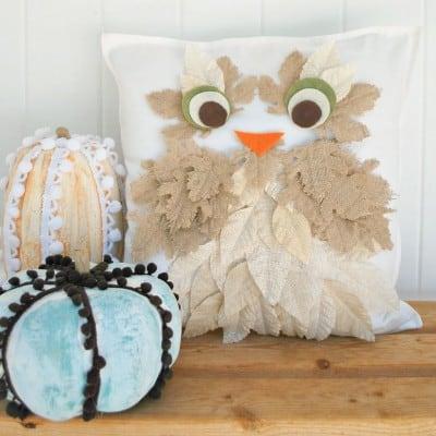 Burlap Leaf Owl Pillow