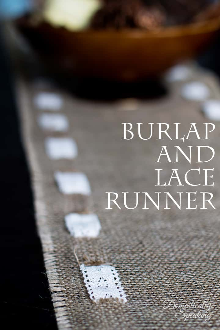 Burlap and Lace Runner perfect for weddings, fall decor