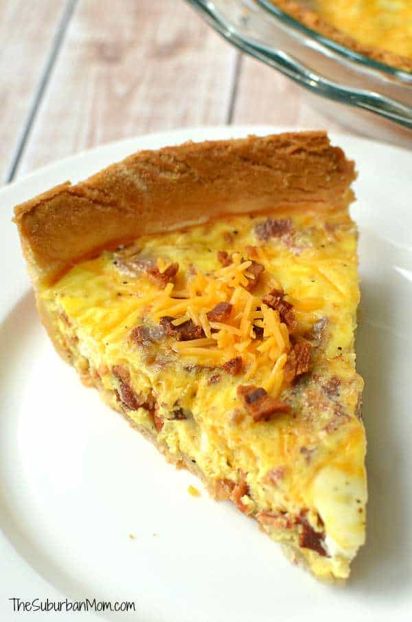 Cheddar-Bacon-Quiche-Recipe from The Suburban Mom