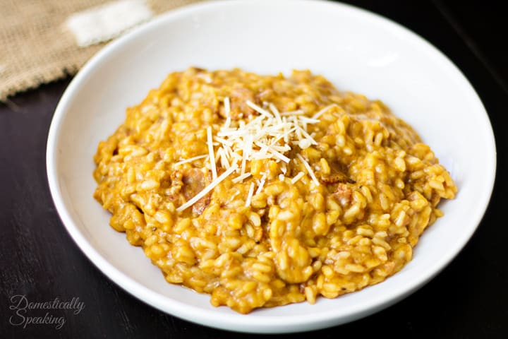 Creamy Pumpkin Risotto with Parmesan and Bacon