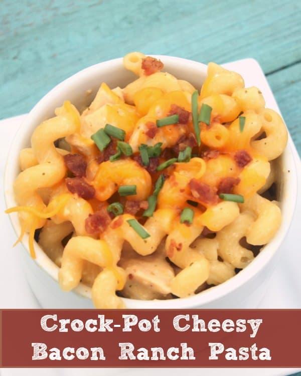 Crock-Pot-Cheesy-Bacon-Ranch-Pasta from Crockpot Ladies