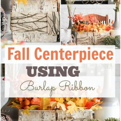 Fall Centerpiece with Burlap Ribbon