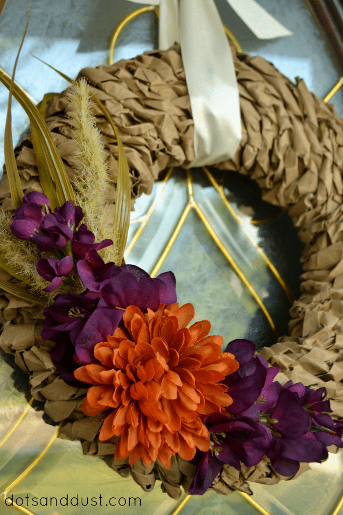 Fall-Paper-Bag-Wreath from Dots and Dust