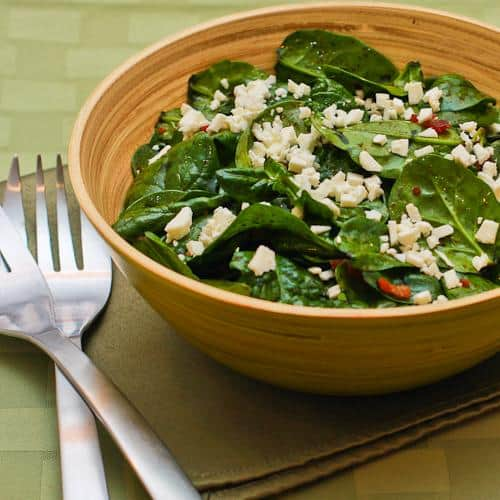 Spinach Salad Recipe with Bacon and Feta from Kalyns Kitchen