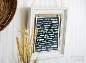 Thrift Store Frame Makeover and Apple Varieties Printable 3