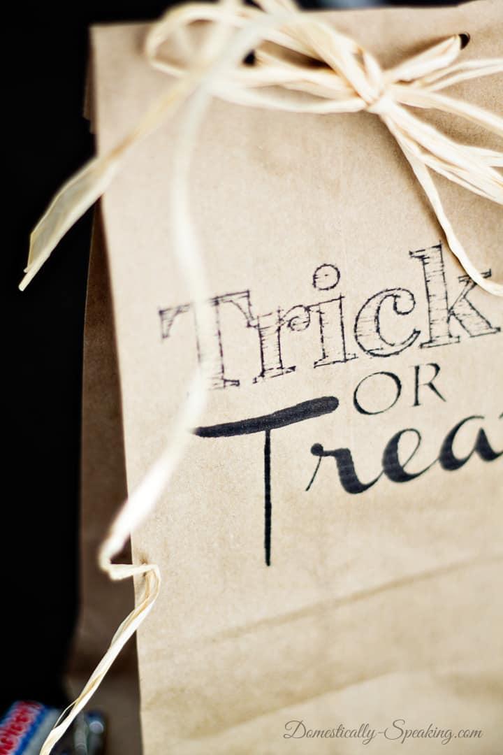 Trick or Treat Brown Paper Bag Printable