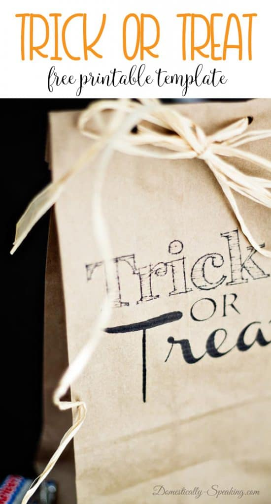 Trick or Treat brown bag printable with full directions!  Perfect fall goodies bag!
