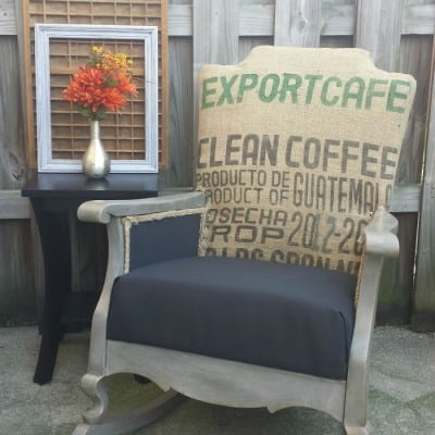 Burlap Coffee Sack Rocking Chair