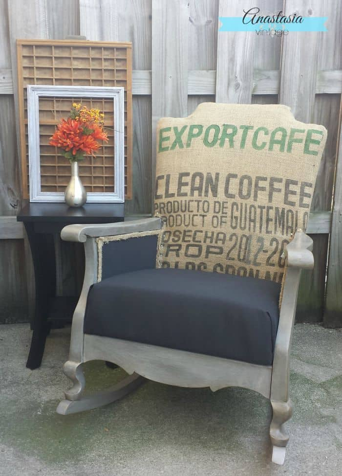 Burlap Coffee Sack Rocking Chair