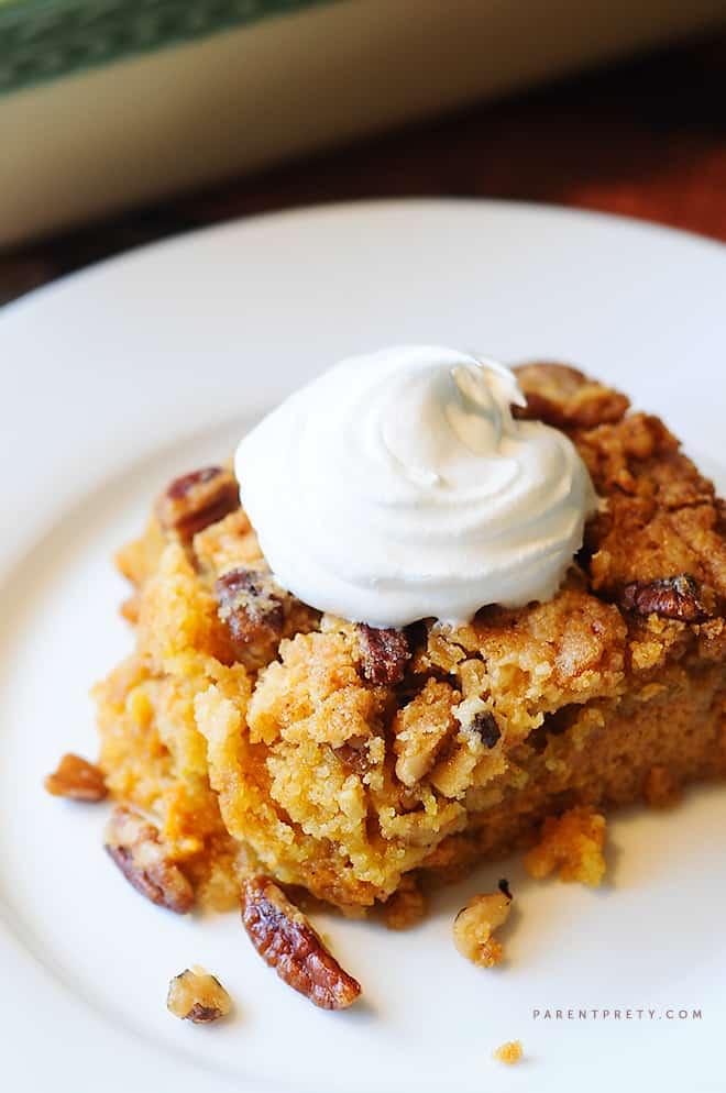 pumpkin-crunch-cake-recipe from Parent Pretty