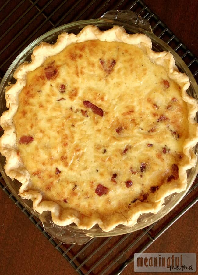 swiss-bacon-quiche-recipe- from Meaningful Mama