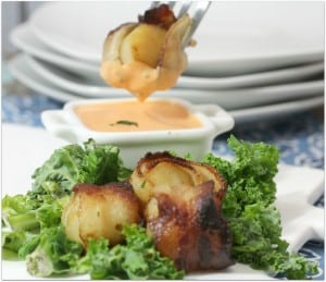 Broiled Bacon Wrapped Scallops with Spicy Dipping Sauce from Kelly Stilwell