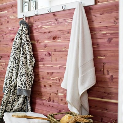 Cedar Plank Bathroom Wall