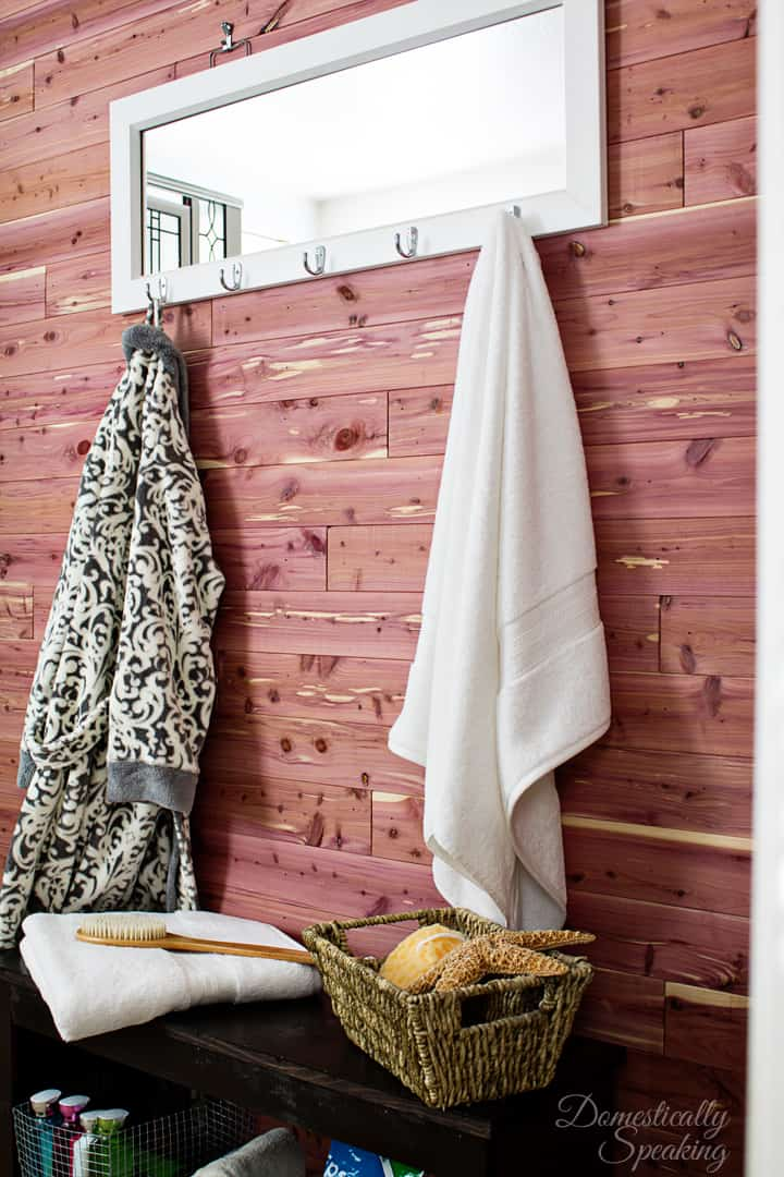 Cedar Planked Bathroom Wall 1