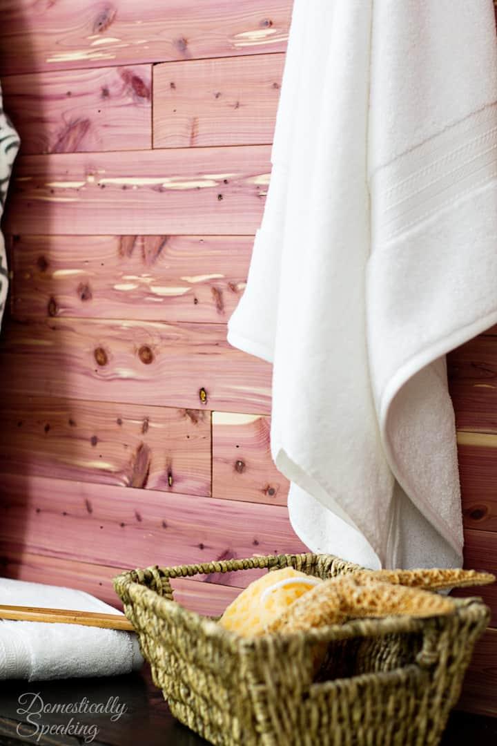 Cedar Plank Bathroom Wall Domestically Speaking
